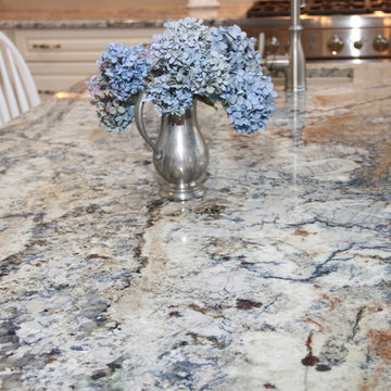 Orchard Park - Traditional White Kitchen with Blue Azurite Granite