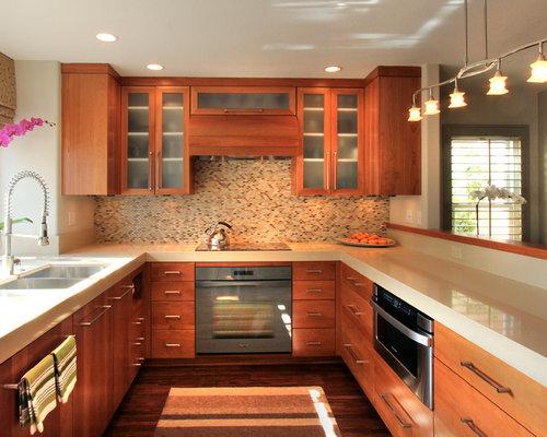 267 kitchen design photos with multi coloured splashback and bamboo