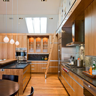 Minimalist kitchen photo in Minneapolis with flat-panel cabinets and paneled appliances