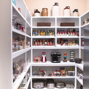 Mid-sized contemporary kitchen pantry pictures - Inspiration for a mid-sized contemporary kitchen pantry remodel in Richmond with open cabinets and white cabinets