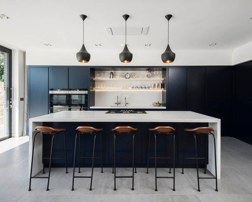 contemporary kitchen with black appliances design ideas remodel