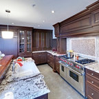 Quaint Painted Kitchen With Open Shelving Traditional