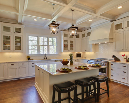 Elegant u-shaped kitchen photo in Raleigh with shaker cabinets white cabinets white & Lantern Pendant Lighting | Houzz azcodes.com