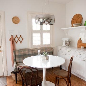Our bright, white, open kitchen