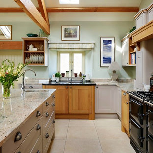 Inspiration for a rural l-shaped kitchen in Other with a submerged sink, shaker cabinets, beige cabinets, black appliances, an island, beige floors and beige worktops.