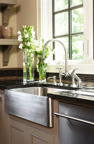 exclusive sink and cabinets in ultramodern kitchen | Stainless Farm Sink Home Design Ideas, Pictures, Remodel ...