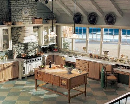 shabby chic style k chen mit gebeiztem holzboden ideen bilder. Black Bedroom Furniture Sets. Home Design Ideas