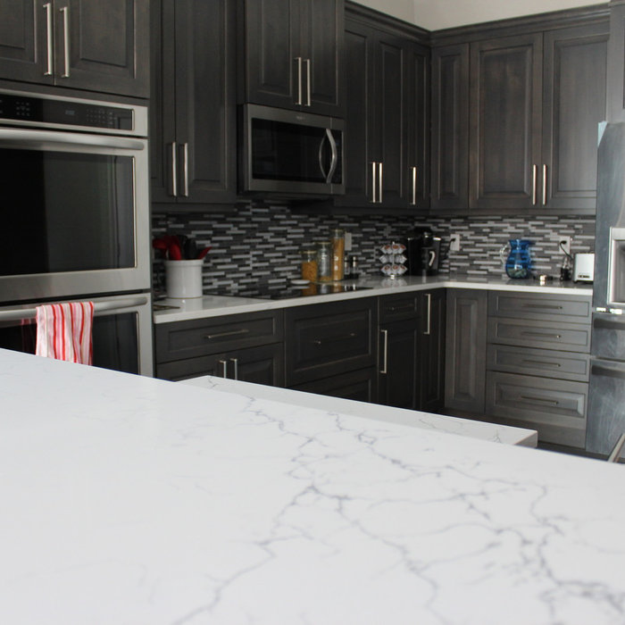 Transitional Matchstick Tile Kitchen