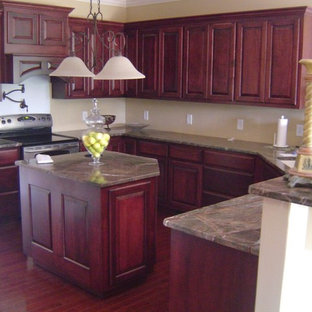 This is an example of a large traditional kitchen in Other with raised-panel cabinets, beige cabinets, granite benchtops, stainless steel appliances, dark hardwood floors and with island.