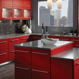 75 Beautiful Slate Floor Kitchen With Red Cabinets Pictures Ideas June 2021 Houzz