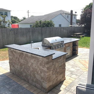 Outdoor Paver Patio with Kitchen and Firepit - West Babylon, NY 11704