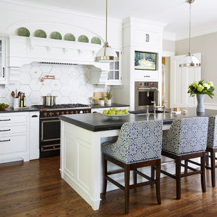 75 Beautiful Kitchen With White Cabinets And Black ... on espresso kitchen cabinets black appliances, kitchen backsplash ideas black appliances, kitchen colors black appliances,