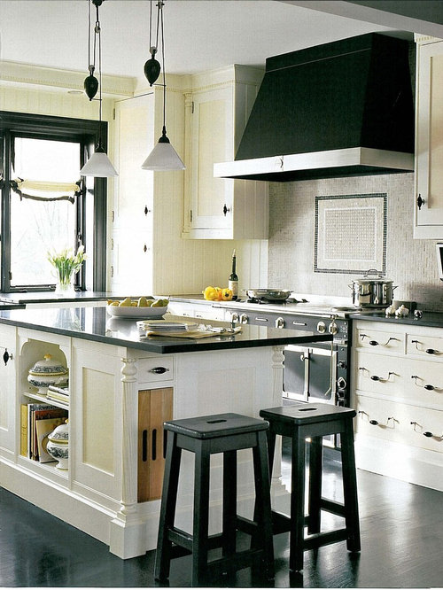 Example Of A Trendy Kitchen Design In Boston With Mosaic Tile Backsplash,  Yellow Cabinets,