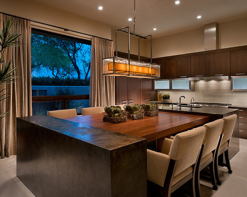 Inspiration For A Contemporary Eat In Kitchen Remodel In Phoenix With Flat Panel Cabinets