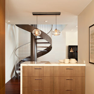 Example of a minimalist kitchen design in San Francisco with flat-panel cabinets and medium tone wood cabinets