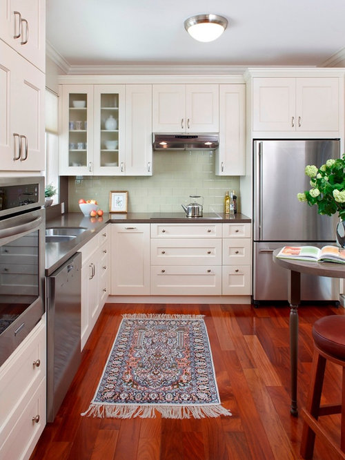 cherry floor white cabinets design ideas remodel