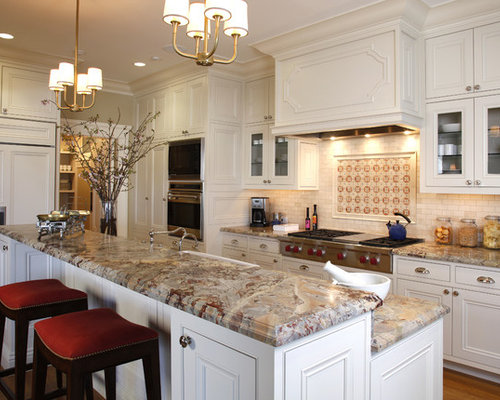 Traditional Kitchen Idea In San Francisco With Beaded Inset Cabinets, White  Cabinets, Multicolored Backsplash
