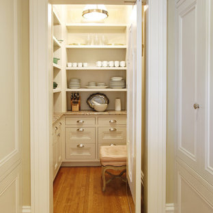 Inspiration for a traditional kitchen pantry in San Francisco with open cabinets and white cabinets.