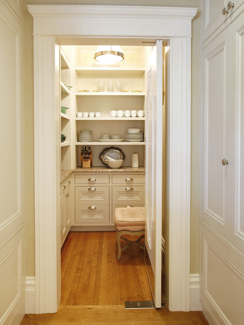 example of a classic kitchen pantry design in san francisco with open cabinets and white cabinets - Butler Pantry Design Ideas