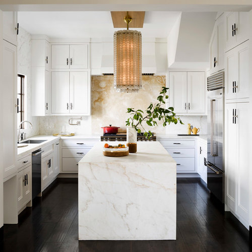 Transitional Kitchen Ideas   Transitional Kitchen Photo In Chicago With  Recessed Panel Cabinets, White