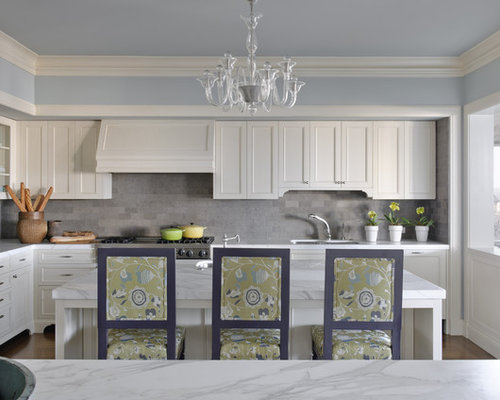 Traditional Kitchen Idea In San Francisco With Marble Countertops Gray Backsplash And Limestone Backsplash