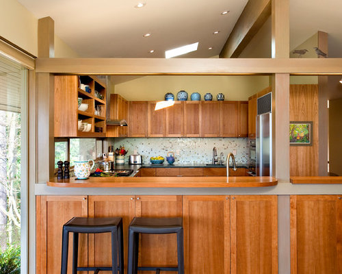 Example Of A 1960s U Shaped Enclosed Kitchen Design In Seattle With  Recessed Panel Part 50