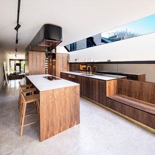 Inspiration for a modern galley kitchen in Sydney with flat-panel cabinets, brown cabinets, marble benchtops, metallic splashback, mirror splashback, with island, white benchtop, a double-bowl sink and panelled appliances.
