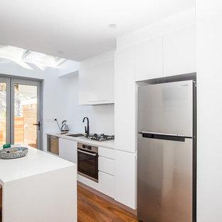 Immagine di una piccola cucina con lavello integrato, ante a persiana, ante bianche, top in granito, elettrodomestici in acciaio inossidabile, parquet scuro e isola