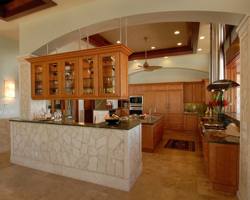 Tropical Eat In Kitchen Idea In Hawaii With An Undermount Sink, Granite  Countertops,