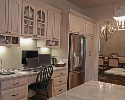Painted and Glazed Kitchen Cabinets with Island and Bar Accent Color