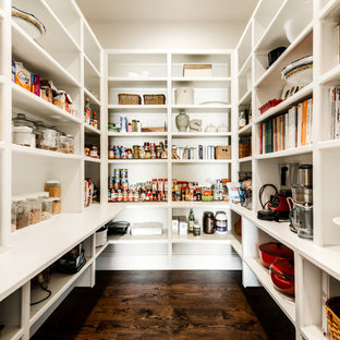 Inspiration for a large traditional u-shaped kitchen pantry in Dallas with white cabinets, open cabinets and dark hardwood flooring.