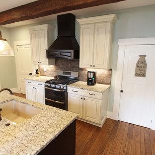 クリーブランドの中くらいのトランジショナルスタイルのおしゃれなキッチン (シングルシンク、フラットパネル扉のキャビネット、ベージュのキャビネット、御影石カウンター、茶色いキッチンパネル、レンガのキッチンパネル、シルバーの調理設備、無垢フローリング) の写真