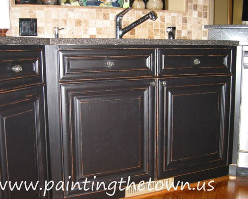 Black Distressed Cabinets Houzz