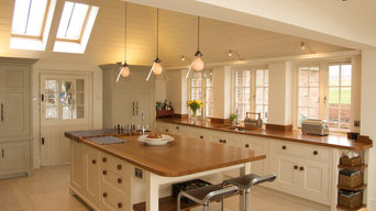 Painted Traditional Kitchen with timber work surfaces