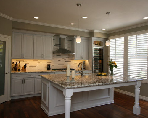 Painted White Traditional Kitchen With Large Island In