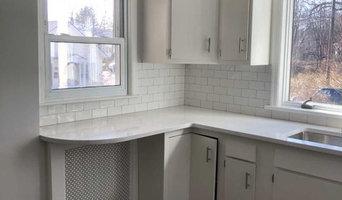 Painting existing cabinetry, replacing laminate to beautiful quartz