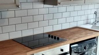 Painting orange pine kitchen cabinets