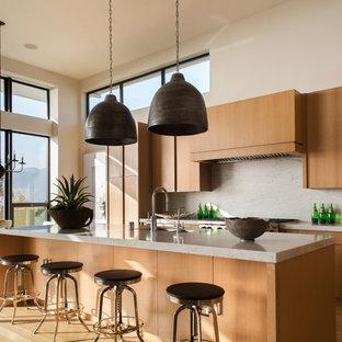 Esempio di un'ampia cucina abitabile minimalista con isola