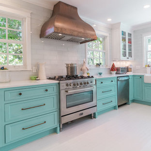 Tropical Kitchen Designs Inspiration For A Painted Wood Floor And White Remodel