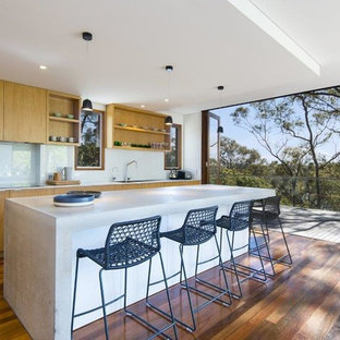 Photo of a contemporary kitchen in Sydney with beaded inset cabinets, medium wood cabinets, glass sheet splashback, dark hardwood floors and brown floor.