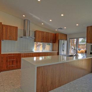 他の地域の中サイズのモダンスタイルのおしゃれなキッチン (フラットパネル扉のキャビネット、シルバーの調理設備の、テラゾの床) の写真