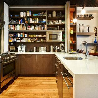 Immagine di una cucina minimal con lavello sottopiano, ante lisce, ante in legno bruno, elettrodomestici in acciaio inossidabile e pavimento in legno massello medio