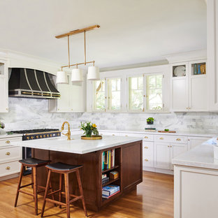 Transitional Kitchen Appliance   Example Of A Transitional U Shaped Medium  Tone Wood Floor And