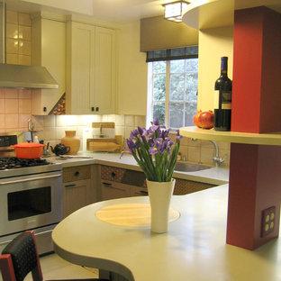 サンフランシスコのアジアンスタイルのおしゃれなキッチン (アンダーカウンターシンク、インセット扉のキャビネット、グレーのキャビネット、人工大理石カウンター、セラミックタイルのキッチンパネル、シルバーの調理設備の、リノリウムの床) の写真