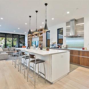 contemporary kitchen design. Contemporary Open Concept Kitchen Ideas - Inspiration For A L-shaped Light Wood Floor Design U
