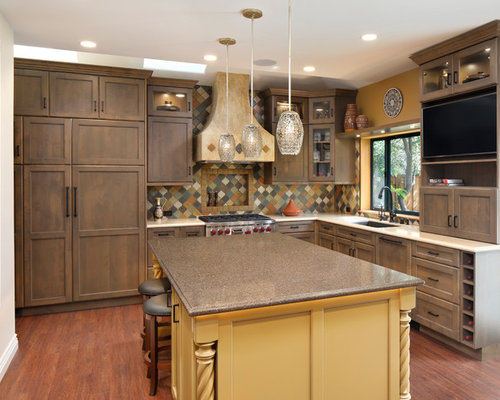 Southwestern Kitchen Photos   Southwestern L Shaped Vinyl Floor And Brown  Floor Kitchen Idea In Part 75