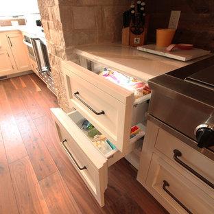 Paneled Subzero Refrigerator Drawers with Inset Look