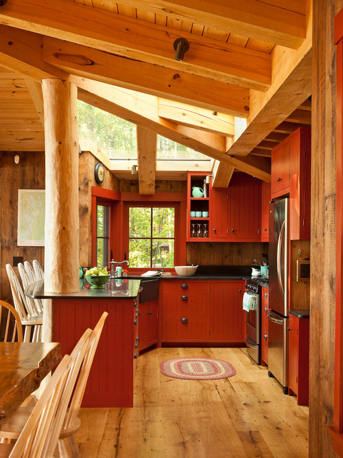 Rustic Kitchen Designs   Rustic U Shaped Medium Tone Wood Floor Kitchen  Idea In Portland Part 93