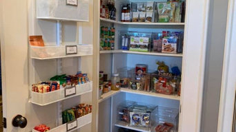 Pantry after with Door organizer and clear bins