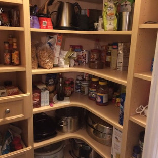 Inspiration for a mid-sized transitional kitchen pantry in Orange County with open cabinets and light wood cabinets.